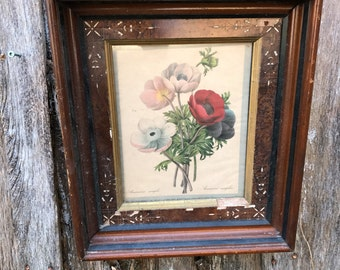 Antique/Vintage Wood Shadow Box Frame with Etching Floral Print