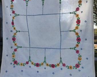 Vintage Off White Tablecloth with Hand Embroidery Flowers