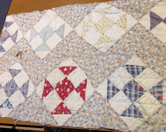 Vintage Hand Quilted Feedsack Fabric Shoe Fly Pattern Cutter Quilt Piece