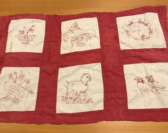 Vintage Red and White Hand Embroidery Thinner Cutter Quilt Piece