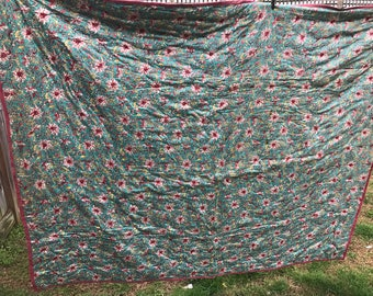 Vintage 1940's Era Turquoise and Pink Floral Print Polished Cotton Whole Cloth Hand Tied Quilt