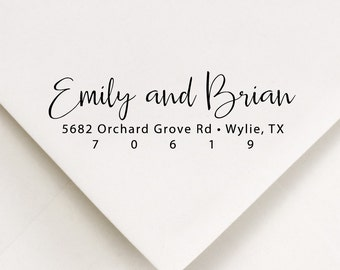 Address Stamp - Wedding Invitations - Personalized Womens Gift - Return Address Stamp - Modern Address Stamp - Stamper - Brian and Emily