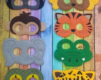 Jungle Animals Felt Masks * Birthday Parties * Party Favors * Playtime * Gorilla, Monkey, Elephant, Snake, Lion, Tiger, Crocodile, Cheetah