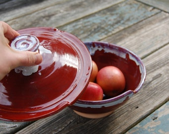 Covered Serving Bowl in Red Agate- Made to Order