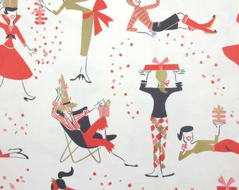 Vintage 1950s or 1960s Birthday Wrapping Paper or Gift Wrap with Retro Girl Woman Packages Gifts by Hallmark