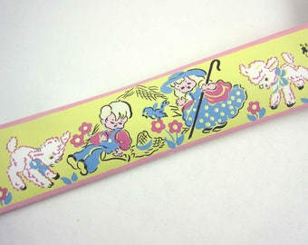Full Unused Roll of Vintage Wallpaper Border with Children's Fairy Tales Mary Had a Little Lamb Bo Peep in Original Box by Trimz