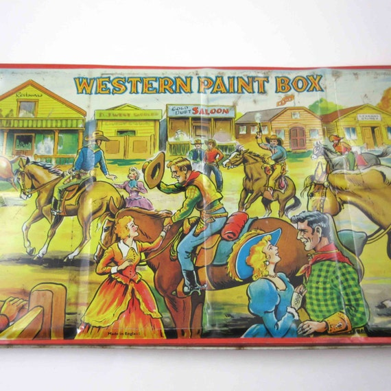 Vintage Large Children's Tin Litho Western Cowboy Themed Paint Box Watercolor Tin Made in England