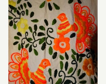1960's Bohemian Floral Orange Embroidered Dress, Peacock vibrant Colors Hippy 60's Fashion, Lovely Flowers, Cotton Classic 60's, Boho