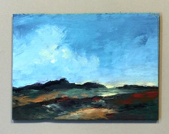 ACEO 1701, 0il painting original landscape, ACEO, miniature art, 100% charity donation, oil painting on cardboard