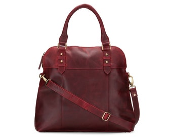 Large Brown Leather Handbag Bag Purse, Red
