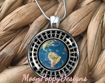 Earth People Unity Coexist Peaceful Planet Glass Pendant Necklace
