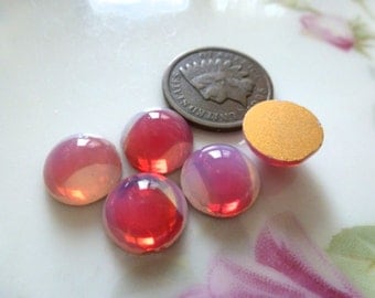 5 Vintage German Sabrina Red Opal Glass Stones 10mm in Diameter by 5mm thick C46