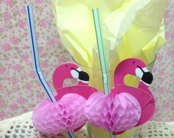 Package of 18 Pink Flaming Honeycomb Party Straws - Party - Decoration - Summer - Beach Party Decor,  Party Straws, Flamingo Straws