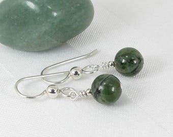 Bold Canadian Nephrite Jade and Sterling Silver Earrings