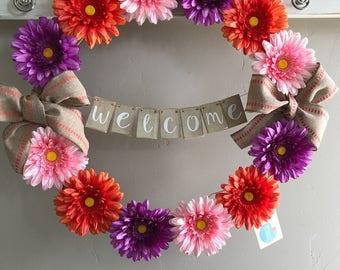 Spring Summer Gerbera Daisy Front Door Wreath, Welcome Wreath, Flower Wreath