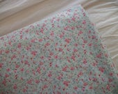rachel ashwell 'simply shabby chic baby' cotton fabric, lined curtain panel, cottage chic calico floral pattern, soft blue, tiny pink blooms