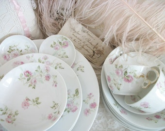 antique haviland limoges fine french china dinnerware set, six 7-piece place settings, romantic pale pink roses, soft floral, french cottage