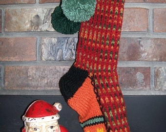 Old Fashioned Hand Knit Fall tones Ranch Red Vertical stripe Christmas Stocking with Flower Border