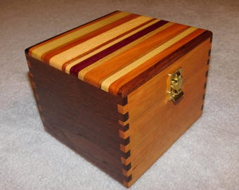 """Large Wood Recipe Box for 4"""" x 6"""" Index Cards - Walnut & Cherry"""