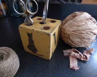 Primitive Monogram Cat Hook Keeper Block Rug Hooking Hooks And Scissors