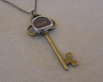 Brass Typewriter key Necklace LOCK and KEY Antiqued Brass Skeleton Key Necklace Typewriter Key Jewelry Steampunk
