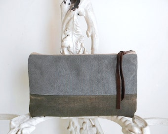 Recycled military canvas, grey clutch, large utility pouch - eco vintage fabrics