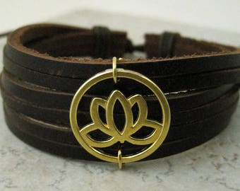 Leather Cuff Bracelet Gold Lotus Flower