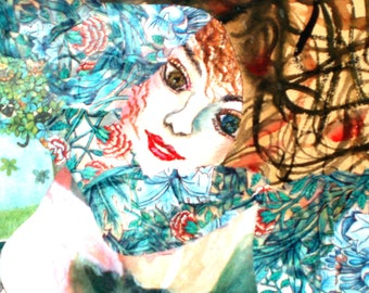 fine art print female  with wild hair eyes blue brown floral reproduction of my original painting
