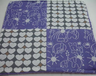 Elephants You Are My Sunshine Purple and Gray Four Square Baby Minky Burp Cloth 12 x 12 READY TO SHIP