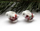 2 bunnies matched earring pair artisan lampwork glass beads white pink purple ornage animals woodland rabbit
