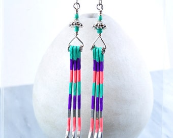 Bobby pin earrings | long earrings | mint green earrings | color earrings