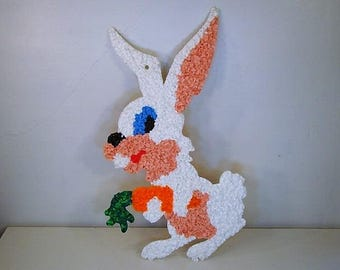 Vintage Easter Bunny with Carrot 1970's White Melted Plastic Rabbit Vintage Outdoor Easter Decoration 1970's Easter Decoration Wall Hanging