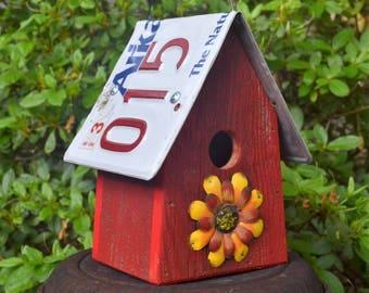 Rustic Birdhouse - Flower Birdhouse - Hanging Birdhouse