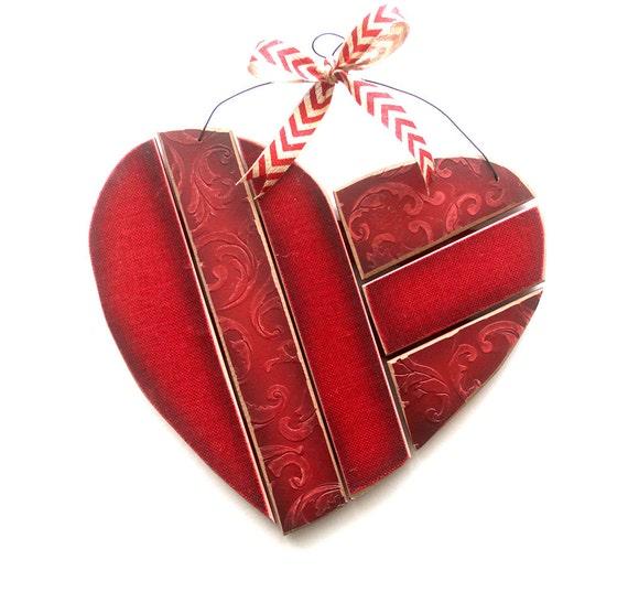 Hanging Heart Wall Decor : Valentine wood heart wall hanging wreath