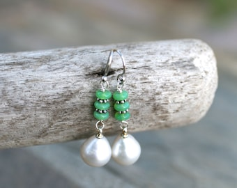 Green Chrysoprase, White Freshwater Pearl Drop Earrings, Sterling Silver Earrings, White and Green Gemstone Earrings, White Pearl Earrings