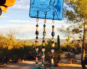 Lizard Windchime Blue Glass