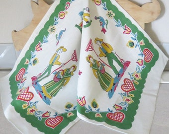 Large linen tea towel, table runner, colorful farm scene ~ mid century