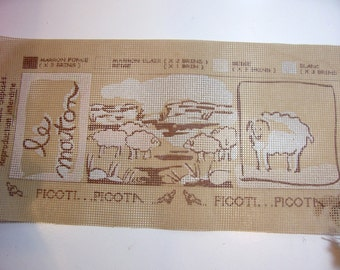 Needlepoint Kit, Le Mouton, Embroidery Kit by Picoti Picota, The Sheep FN