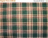 Black Friday Homespun Fabric | Plaid Fabric | Green, Brown and Natural Plaid | End Of The Bolt  | 1 Yard