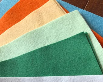 Wool Felt Sheets New 2017 Colors - 6 sheets - You Choose Size 9x12 or 12x18 - BRAND NEW COLORS