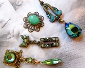 Banana Bob Findings - Vintage All One of a Kind with Enamel, Brass & Swarovski Crystal Chips - 4 Pieces