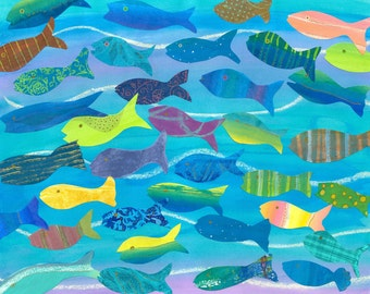 Collage Art Print - Beautiful Swimmers - Ocean Colours School of Fish - 8 x 10 or 10x13