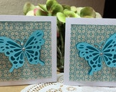 Blue 3D Butterfly Gift Cards Set of Six Faux Gems Monarch Spring Fly Flutter By Lunchbox Love Notes Wings Turquoise Pattern Handmade Shower