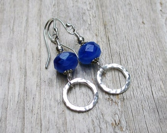Blue Bead Dangle Earring Czech Glass Bead Silver Dangle Earring Argentium Sterling Silver Fine Silver Shiny Ocean Blue