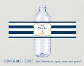 Nautical Anchor Water Bottle Labels / Nautical Bridal Shower / Navy & Gold / Gold Glitter Anchor / INSTANT DOWNLOAD Editable PDF B101