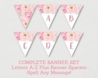 Soft Pink Floral Baby Shower Banner / Floral Baby Shower / Watercolor Floral / Flower Banner / Letters A-Z / Printable INSTANT DOWNLOAD A170