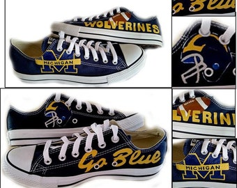 University of Michigan, Michigan, U of M, Painted Shoes, Wedding Shoes, Sports, Football, Sneakers, Chuck Taylor, Converse, Shoes Included