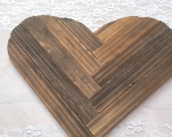Rustic Valentines Wood Heart Upcycled Vintage Shabby Chic Valentine's Day Wedding