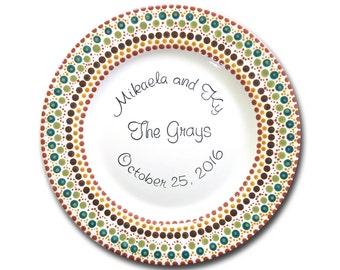 "Mandala Wedding Plate - 11"" Personalized and Hand Painted Wedding Plate"
