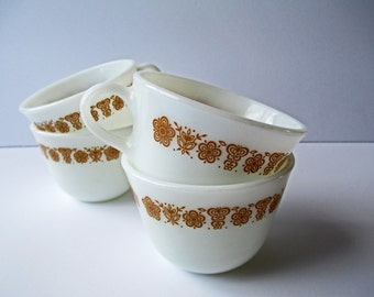 Vintage Pyrex Butterfly Gold Coffee Cups Set of Four